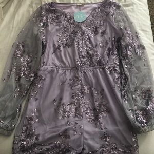 Brand new purple sequins romper!